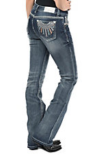 Grace in LA Women's Medium Wash Embroidered Dream Catcher Pocket Easy Fit Boot Cut Jeans