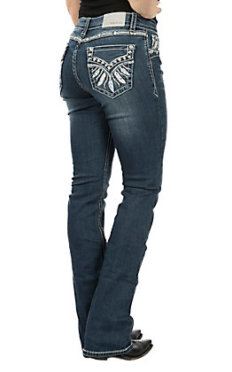 Grace in LA Dark Wash Feather Faux Flap Easy Fit Boot Cut Jeans
