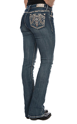 Grace in LA Women's Embroidered Feathers Boot Cut Jeans