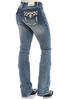 Grace in LA Women's Embroidered Rhinestone Medium Wash Boot Cut Jeans