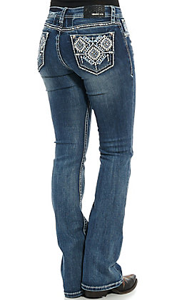 Grace in LA Women's Medium Wash with Aztec Diamond Embroidery Easy Fit Bootcut Jeans