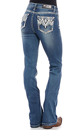 Grace in L.A. Women's Zig Zag Embroidered Boot Cut Jeans