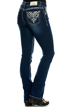 Grace in LA Women's Dark Wash with Aztec Embroidery Boot Cut Easy Fit Jeans