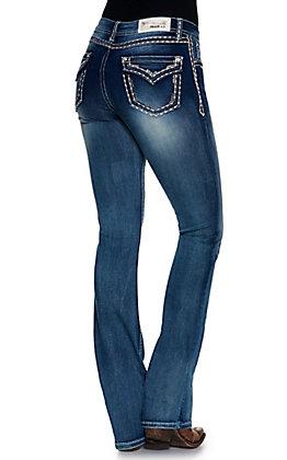 Grace in LA Women's Medium Wash Thick Stitch Faux Flap Pockets Easy Fit Boot Cut Jean