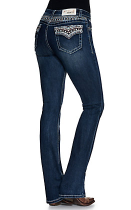 Grace in LA Women's Dark Wash Blue and Pink Diamond Embroidered Faux Flap Pockets Easy Fit Boot Cut Jean