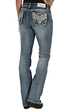 Grace in LA Women's Medium Wash with Pink, Blue, White, and Red Embroidered Open Back Pockets Easy Fit Jeans
