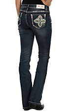 Grace in LA Women's Dark Wash with Multi Colored Cross Embroidery Open Pocket Boot Cut Jeans