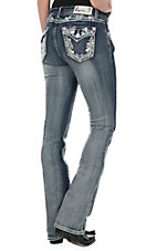 Grace in LA Women's Medium-Dark Wash with Pink and Turquoise Paisley Embroidery Flap Pocket Boot Cut Jeans
