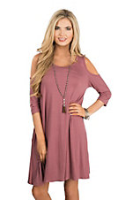 James C Women's Mauve Cold Shoulder Dress