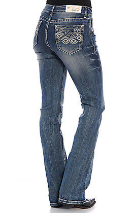 Grace in LA Easy Fit Women's Medium Wash Diamond Embroidered Boot Cut Jeans