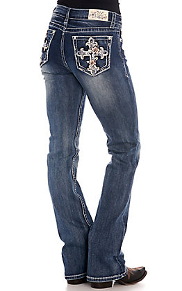 Grace in LA Women's Floral Cross Easy Fit Boot Cut Jeans