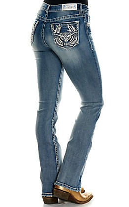 Grace in La Women's Medium Wash with Horseshoe and Longhorn Easy Fit Boot Cut Jeans