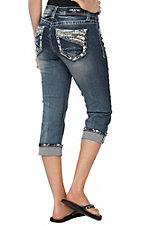 Grace in La Women's Wave Embroidered Pockets and Cuffs with Crystals Capri Jeans - Easy Fit