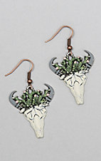 Southern Junkie Cactus Bull Skull Copper Earrings