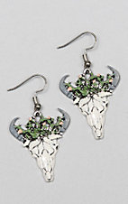 Southern Junkie Cactus Bull Skull Silver Earrings