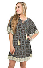 Easel Navy and Ivory Medallion Print with Lace Up Tassel Tie 1/2 Sleeve Tunic Dress