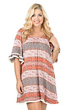 Easel Orange, Pink, and Purple Multi Print with Cream Fringe 1/2 Sleeve Dress