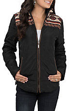 Montana Co. Women's Black with Tan and Orange Aztec Yoke Puff Jacket