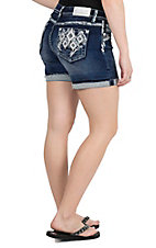 Grace in LA Women's Dark Wash with Distressed Details and White Diamond Embroidery Open Pocket Easy Fit Shorts
