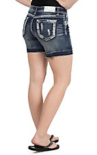Grace in LA Women's Dark Wash with Distressed Details and Thick Stitch Embroidery Open Pocket Easy Fit Shorts