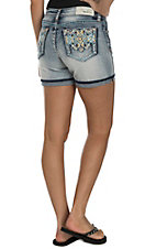 Grace in LA Women's Light Wash with Blue, Yellow, and Orange Aztec Embroidery Open Back Pocket Shorts