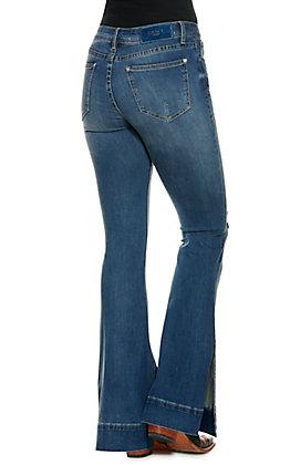 Grace in LA Women's Medium Wash Open Ankle Distressed Flared Leg Jeans