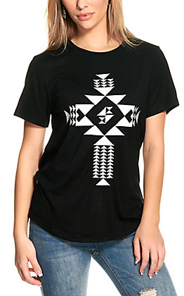Crazy Train Women's Black with White Embroidered Cross Short Sleeve T-Shirt