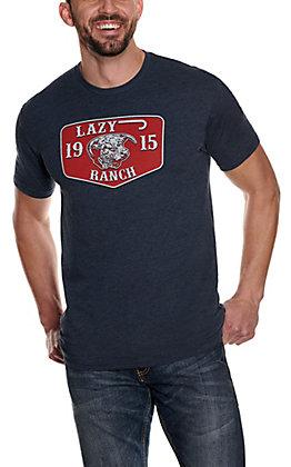Lazy J Ranch Men's Heather Navy Hereford Bull Logo Short Sleeve T-Shirt