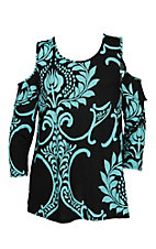 James C Women's Black and Teal Paisley Cold Shoulder Fashion Shirt - Plus Size