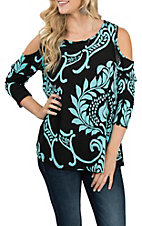 James C Women's Black and Teal Paisley Cold Shoulder Fashion Shirt