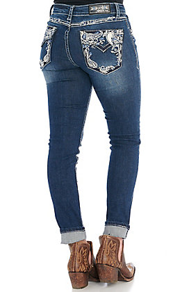 Grace in LA Women's Medium Wash Paisley Easy Fit Boot Cut Jeans