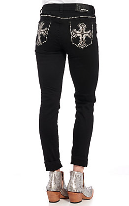 Grace in L.A. Women's Black Cross Embellished Skinny Jeans