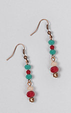 Southern Junkie Turquoise, Red and Cream Beaded Earrings