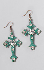 Southern Junkie Turquoise Crystal Cross Earrings