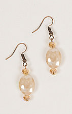 Ashlyn Rose Gold and Cream Oval Crystal Beaded Earrings
