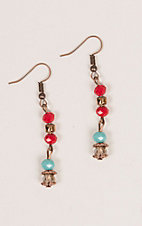 Southern Junkie Turquoise and Red Beaded Earrings