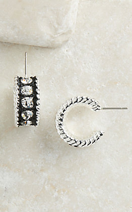 Montana Silversmiths Silver with Black Crystal Shine Small Hoop Earrings