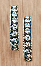 Montana Silversmiths Clear Crystals on Black Medium Hoop Earrings