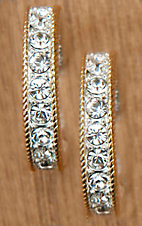 Montana Silversmiths Silver with Gold and Crystals Large Hoop Earrings