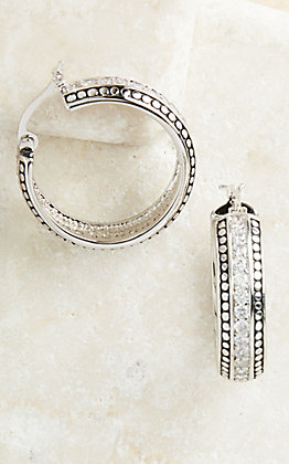 Montana Silversmiths Silver with Crystals Hoop Earrings