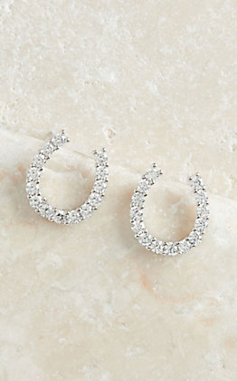 Montana Silversmiths Silver with Clear Crystal Horseshoe Earrings