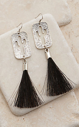 Cowboy Collectibles Silver Cactus Tassel Earrings