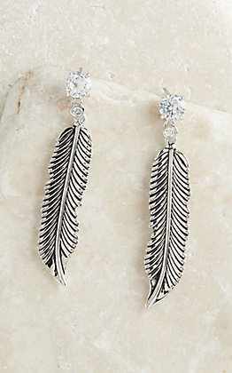 Montana Silversmiths Antiqued Silver Crow Feathers on Crystal Stud Earrings