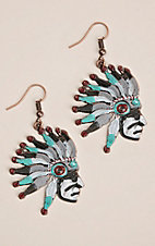 Southern Junkie Turquoise and Red Chief Hook Earrings