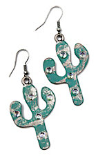 Southern Junkie Crystal Cactus Turquoise in Silver Earrings