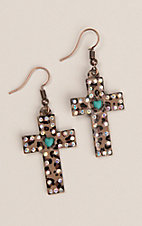 Southern Junkie Leopard with Turquoise Heart and Rhinestones Cross Hook Earrings