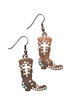 Southern Junkie Copper Boot Bling Earrings
