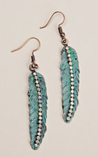 Southern Junkie Turquoise Patina Feather with Rhinestones Hook Earrings