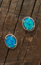 Montana Silversmiths Oval Opal Solitaire Earrings