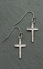 Montana Silver Smith Simple Rhinestone Cross Earrings